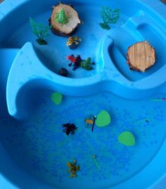 Frog Life Cycle Small World... getting too cold for the water table, really.. but we might have to make an exception!!