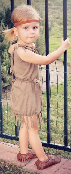 Homemade Disney Princess Costumes for Girls: Pocahontas--just add BLUE necklace!