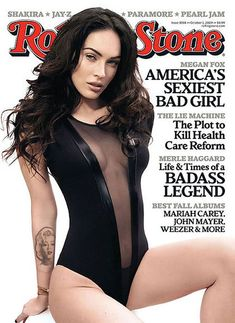 Megan Fox wears her signature pout and shows off her body on the cover of Rolling Stone's October issue, striking a few sexy poses during her photo shoot. Megan Fox Sexy, Megan Fox Fotos, Megan Denise Fox, Megan Fox Playboy, Rolling Stones, Vanity Fair, Concert Rock, Rolling Stone Magazine Cover, American Apparel Bodysuit