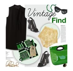 """""""Vintage Headscarf"""" by magdafunk ❤ liked on Polyvore featuring Theory, Marni, CÉLINE, I.D. SARRIERI, Lanvin, vintage, VintageInspired, blackandgreen and vintagejewelry"""