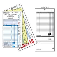 Repair Tag - Type B - With Shop Name   For those who want to write their own service descriptions, the B3 is a 3-ply, half-size Repair Tag printed on carbonless paper. Imprinted with your shop's name, address & contact information.