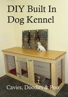 Under counter, cabinet style dog crate, kennel Cavies, Doodles and Poo: DIY Cabinet Style Dog Kennel
