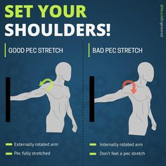 🔥𝐒𝐄𝐓 𝐘𝐎𝐔𝐑 𝐒𝐇𝐎𝐔𝐋𝐃𝐄𝐑𝐒!🔥 ⠀ 📍Setting your shoulders is super important! In this case I am talking about setting your shoulder when doing pec… Gym Workout Tips, Gym Tips, At Home Workouts, Muscle Fitness, Yoga Fitness, Weight Loss Motivation, Fitness Motivation, Shoulder Rehab, Muscle Stretches