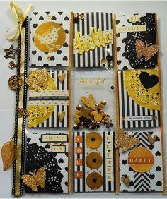 Pocket letter - black, white and gold   by peachesandpinklemonade