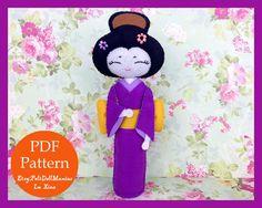 Japanese Geisha Doll. PDF Pattern. Felt Doll. by FeltDollManiac