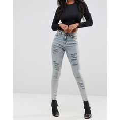ASOS RIDLEY High Waist Skinny Jeans in Nichol Light Acid Wash with... (415 SEK) ❤ liked on Polyvore featuring jeans, blue, high waisted ripped jeans, high waisted stretch jeans, high rise skinny jeans, high waisted jeans and distressed skinny jeans