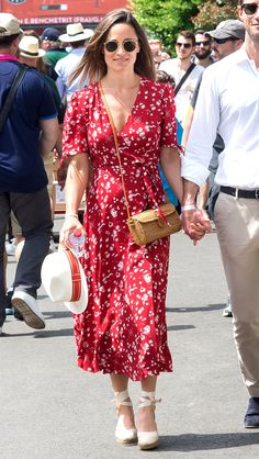 Pippa Middleton in a printed red midi dress