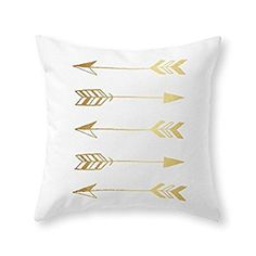 """Society6 Faux Gold Foil Arrows Throw Pillow Indoor Cover (16"""" x 16"""")"""