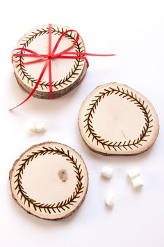 These easy DIY Wood Burned Coasters make great homemade stocking stuffers for the holidays!
