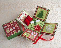 "Открытка-трансформер ""Новогодний кубик с настоящими валенками"" #card #newyear #scrapbooking #postcard #newyearcards Card in a Box #christmascards новогодняя открытка"