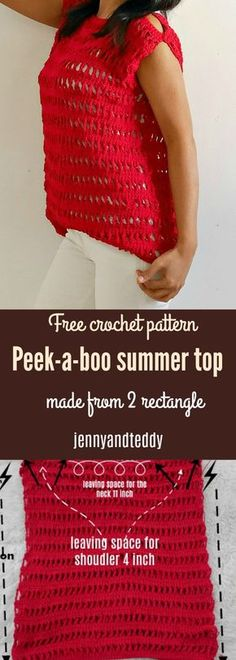Peek-a-boo summer crochet top free pattern ,beginner friendly made from 2 rectangle with cotton yarn by jennyandteddy.