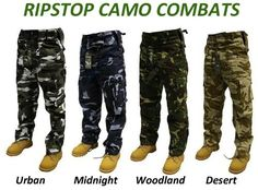 b8eb204a56 Adults Ripstop Camo Army Combats Cargo Trousers Sizes 30-50: Amazon.co.uk:  Clothing