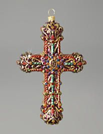 Cross Glass Ornament - Jewel