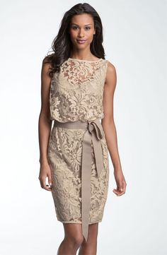 Tadashi Shoji Tulle & Lace Blouson Dress SAND size 8 $340 #192 NEW #TadashiShoji #Cocktail