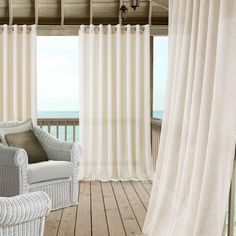 Carmen Sheer Extra Wide Indoor/Outdoor Window Curtain for Patio, Porch, Cabana, Pergola, Deck - Elrene Home Fashions Pergola Curtains, Grommet Curtains, Sheer Curtains, Outdoor Curtains For Patio, Pergola Patio, Pergola Ideas, Pergola Plans, Pergola Kits, Porch With Curtains