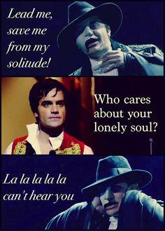 "LOL! Ramin Karimloo as the Phantom in ""The Phantom of the Opera"" and Enjolras in ""Les Miserables""."