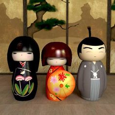 Nice group of Kokeshi with a man at de right site.