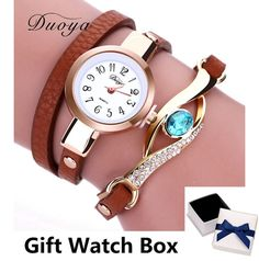 Duoya New Brand Eye Gemstone Luxury Watches Women Gold Bracelet Watch Dress Female PU Leather Electronic Quartz Wristwatches