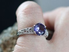 Vintage Style Alexandrite Sapphire & Diamond Engagement Ring