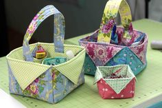 Fabric Box & Basket - DIY Sewing Tutorial - she makes an easy insert for the inside bottom to give the box more stability.