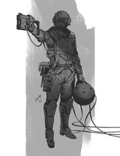 "sekigan: "" ArtStation - Sci-fi/military dudes & babes…, Gregory Vlasenko """