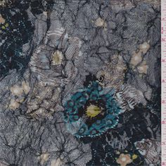 $4.75/yd -- Dark Blue/Teal Blue Floral Stretch Lace - 31228 - Fabric By The Yard At Discount Prices