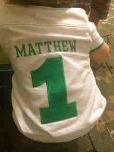 Custom jersey for football themed first birthday