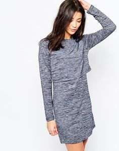 Image 1 of Brave Soul Long Sleeve Jersey Dress With Cross Back