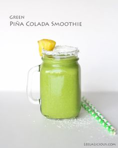 Green-Coconut-Pineapple-Smoothie...added in coconut water too bc I didn't have enough coconut milk