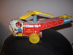 """1953 Fisher Price """"Happy Little Helicopter"""" wooden pull toy, #498."""