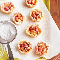 Apple-Toffee Tartlets  Filled with a buttery blend of apples, toffee pieces, and brown sugar, these tiny tartlets are simple and fun to make. Serve them with a scoop of coffee or cinnamon ice cream.