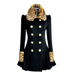 Navy Blue Coat For Women-Leopard Collar Winter Navy Blue Coat-Leopard Blazer Jacket Leopard Blazer, Leopard Coat, White Leopard, Black White, Coats For Women, Clothes For Women, Cheap Clothes, Cheap Shoes, Trench Coat Style