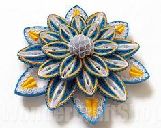 "#paperflower #flowerhomedecor ""flowerart 3d paper flower blue yellow flower huge flower by WonderCraftShop"