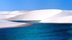 Brazil's Lençóis Maranhenses National Park; pristine white sand dunes