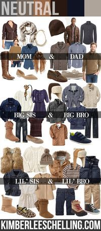 Family photos - what to wear: FALL 2013 family photos {NEUTRAL OUTFITS} Style Board by Kimberlee Schelling Photography. http://www.kimberleeschelling.com/fall-2013-style-guide/