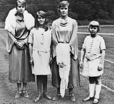Four princesses: Theodora, Cecilie, Margarita, and Sophie of Greece and Denmark on the wedding of their uncle Lord Louis Mountbatten in 1922