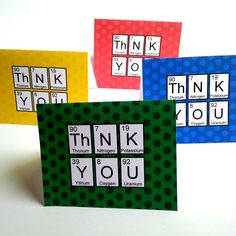 Geek Up Periodic Table Thank You Cards by AppliqueGeekDesigns, $2.00