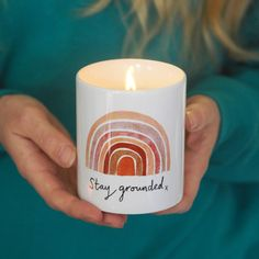 "Earth Rainbow Candle ""Stay Grounded"" - soy wax candle in ceramic pot - positive quote candle - earth mother gift - girlfriend - best friend Natural Candles, Soy Wax Candles, Candle Jars, Candle Quotes, Aromatherapy Candles, Lavender Scent, Candle Making, Rainbow, Office Desk"