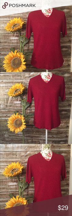 Gorgeous sag harbor sweater top XL EUC short sleeve burgundy sweater worn maybe once. Sag Harbor Tops