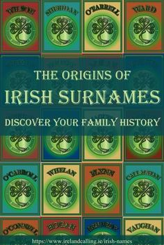 Some of the most popular surnames in Ireland have histories that go back hundreds, even thousands of years. Several originated from the ancient Irish clans that ruled various parts of the country over the centuries. Genealogy Sites, Family Genealogy, Genealogy Chart, Genealogy Forms, Irish Names, Irish Quotes, Irish Sayings, Lds Quotes, Irish Culture