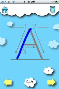 "ABC Clouds ($0.99) With alphabet flash cards for each letter, your children can quickly learn to associate A with Apple. ABC Clouds also allows your children to trace individual letters in both upper and lower case. Each letter contains numerical instructions to illustrate the proper tracing order. This ensures that your children will learn ""the right way"" to write their letters and reinforces their counting skills."