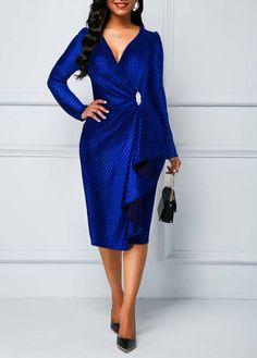 35814206e2c6 US  28.37 - Long Sleeve Ruffle Detail Royal Blue Dress Cheap Blue Dresses