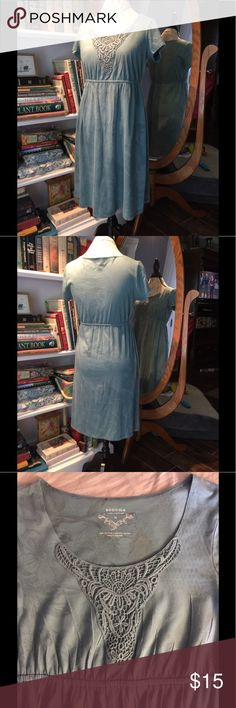 EUC Sonoma knit dress Sonoma size medium comfortable knit short sleeve dress elastic waist with lace accent around neck. Only worn a few times. Pretty teal green blue acid wash tie dye look. Perfect for spring summer fall winter with cardigan or beach bathing suit cover up.   Bundle 2 save 5%, 3+ save 10%. Please check out my other quality listings. All sales final. Never hurts to make an offer!  Tags: tank top blouse mini midi maxi LuLaRoe Carly leggings pants jeans shorts shoes jewelry…