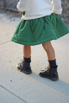Green skirt and doc Martens. Done. #estella #kids #fahsion