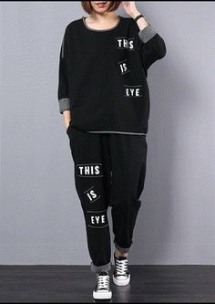 2019 autumn cotton black slim alphabet women casual two pieces Online Clothing Stores, Wholesale Clothing, Sport Mode, Jackets For Women, Women's Jackets, Sport Chic, Winter Wear, Two Pieces, Chic Outfits