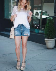 Distressed high waisted shorts & a little bit of feminine & edge . The perfect look for yesterday's city day with my girl!  Love this look?  You can shop it through @liketoknow.it via screen shot or click the link in my bio and the 'shop my instagram' tab. http://liketk.it/2rIiC #liketkit....#whatiwore #styleinspiration #ltkunder50 #instafashion #instastyle #njblogger #nyblogger #nyc #newyork #shop #salealert #topshop #nordstrom #nordygirl #americanstyle #lookoftheday #summerstyle…