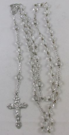 VINTAGE 1950'S ESTATE STERLING SILVER & CLEAR CRYSTAL ROSARY BEAD NECKLACE