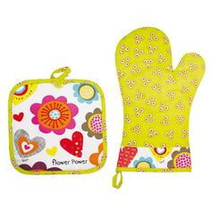 Manique et gant de cuisine 100% coton vert à fleur - le lot FLOWER POWER en solde Flower Power, Green Cotton, Searching, Children, Flowers
