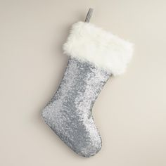 Matte Silver Sequined Stocking | World Market
