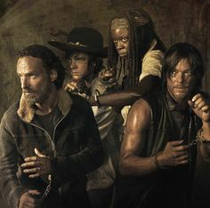The Walking Dead: Rick, Carl, Michonne and Daryl